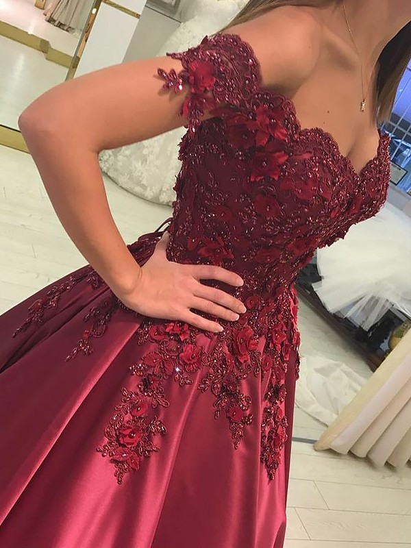 Burgundy Satin Off-the-Shoulder Ball Gown Floor-Length Dresses