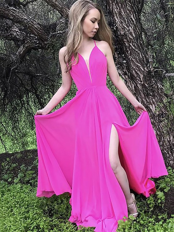 Fuchsia Chiffon Spaghetti Straps A-Line/Princess Sweep/Brush Train Dresses
