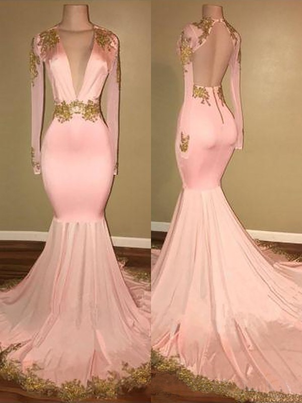 Pink Silk like Satin V-neck Trumpet/Mermaid Sweep/Brush Train Dresses