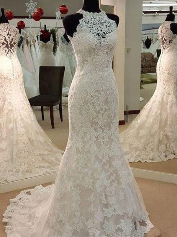 Ivory Lace Scoop Sheath/Column Sweep/Brush Train Wedding Dresses