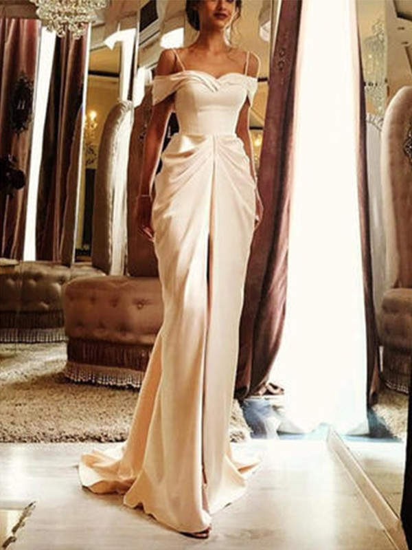 Ivory Silk like Satin Off-the-Shoulder Sheath/Column Sweep/Brush Train Wedding Dresses
