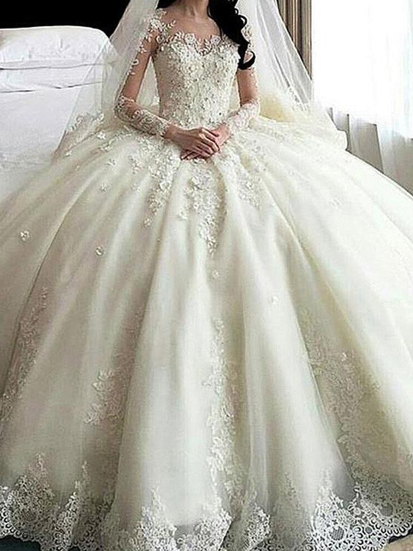 Ivory Tulle Scoop Ball Gown Cathedral Train Wedding Dresses