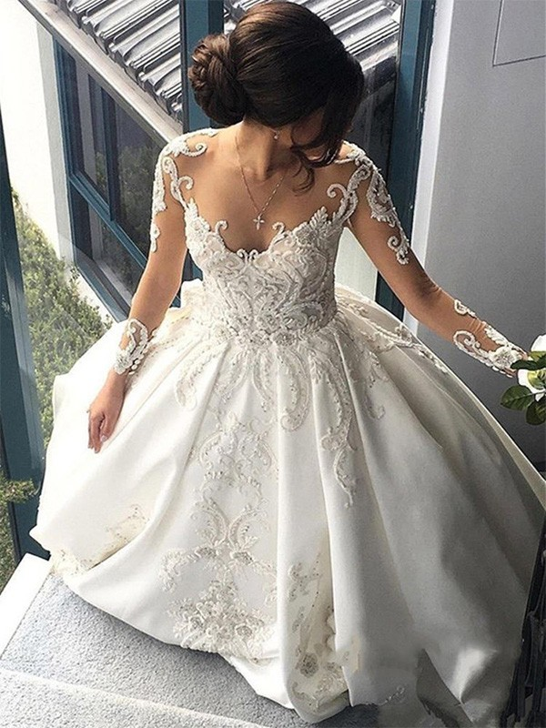 Ivory Satin Scoop Ball Gown Cathedral Train Wedding Dresses