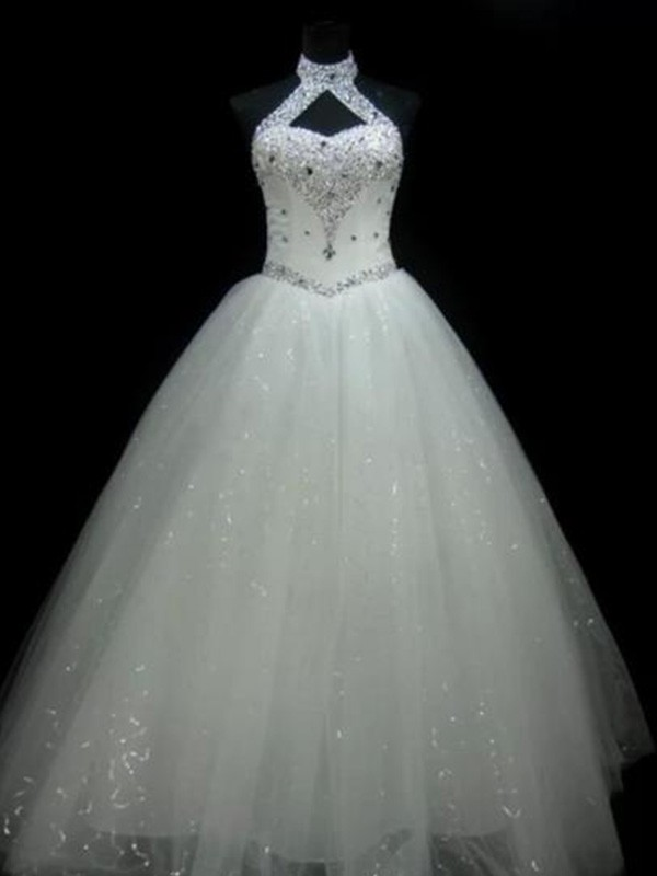 Ivory Tulle Halter Ball Gown Floor-Length Wedding Dresses
