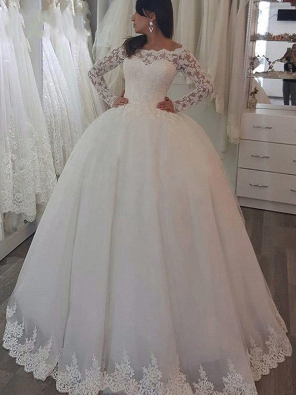 Ivory Lace Off-the-Shoulder Ball Gown Sweep/Brush Train Wedding Dresses