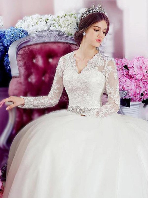 Ivory Tulle V-neck A-Line/Princess Cathedral Train Wedding Dresses