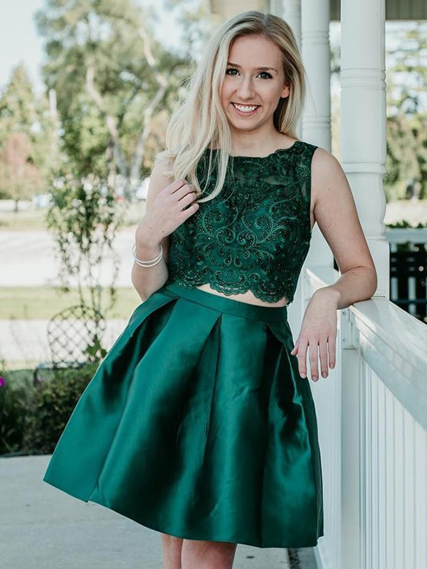 Green Satin Scoop A-Line/Princess Knee-Length Two Piece Dresses