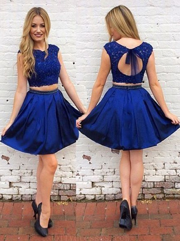 Royal Blue Satin Scoop A-Line/Princess Short/Mini Two Piece Dresses