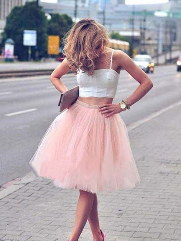 Pink Tulle Spaghetti Straps A-Line/Princess Knee-Length Dresses