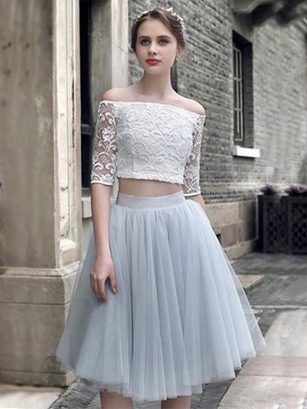 Light Sky Blue Tulle Off-the-Shoulder A-Line/Princess Knee-Length Two Piece Dresses
