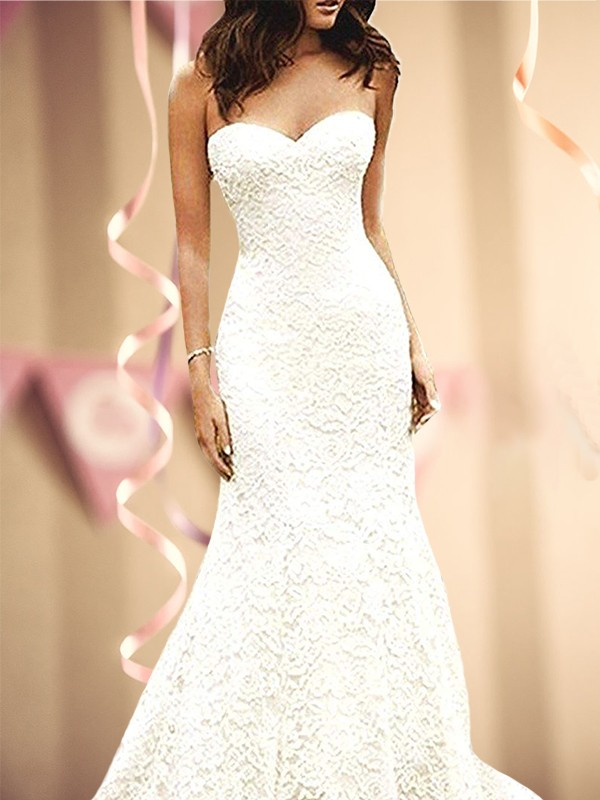 White Lace Sweetheart Trumpet/Mermaid Sweep/Brush Train Wedding Dresses