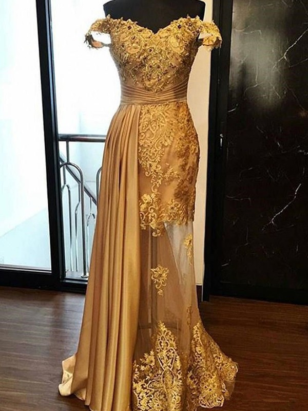 Gold Tulle Off-the-Shoulder Sheath/Column Sweep/Brush Train Dresses