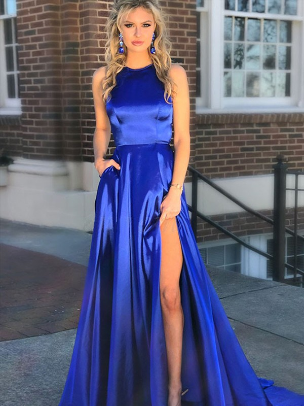 Royal Blue Satin Jewel A-Line/Princess Sweep/Brush Train Dresses