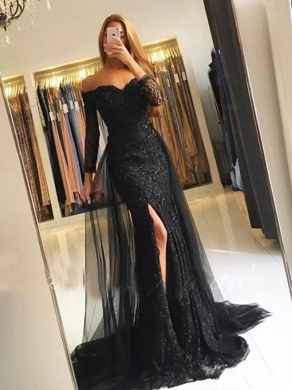 Black Tulle Off-the-Shoulder Trumpet/Mermaid Sweep/Brush Train Dresses