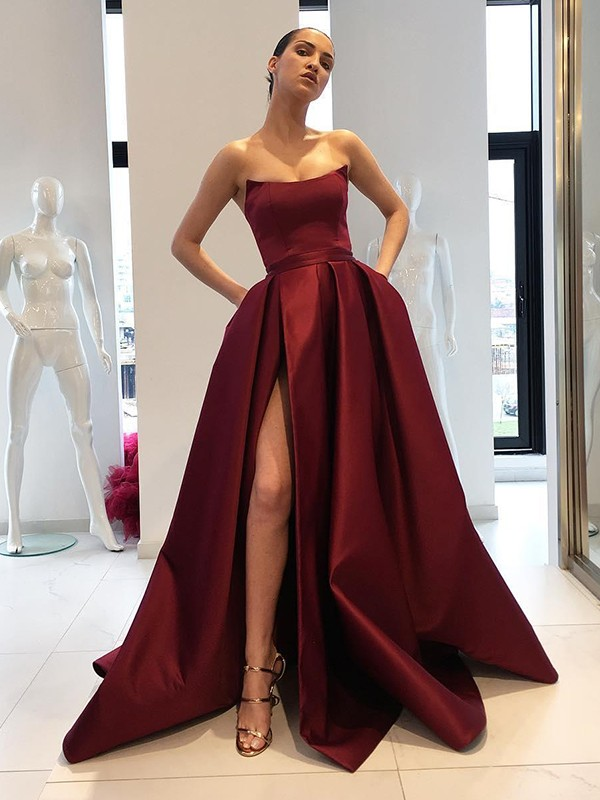 Burgundy Satin Strapless Ball Gown Sweep/Brush Train Dresses