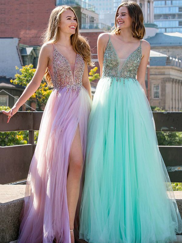 Lilac Tulle V-neck A-Line/Princess Floor-Length Dresses