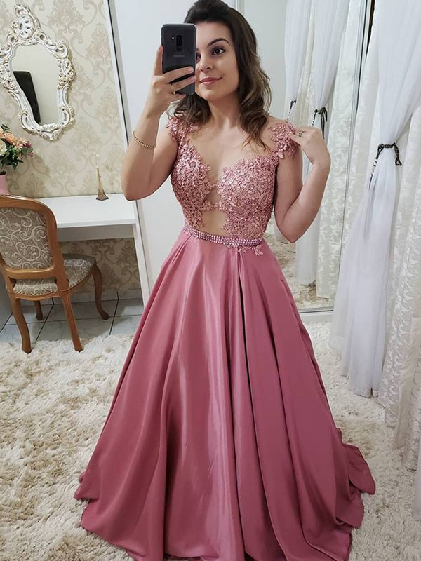 Pink Satin Scoop A-Line/Princess Floor-Length Dresses