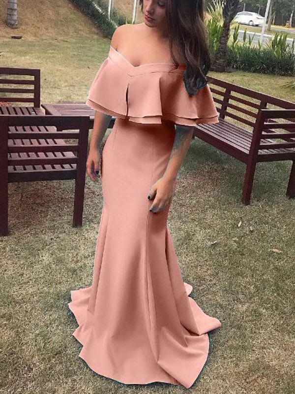 Pink Satin Off-the-Shoulder Sheath/Column Sweep/Brush Train Dresses