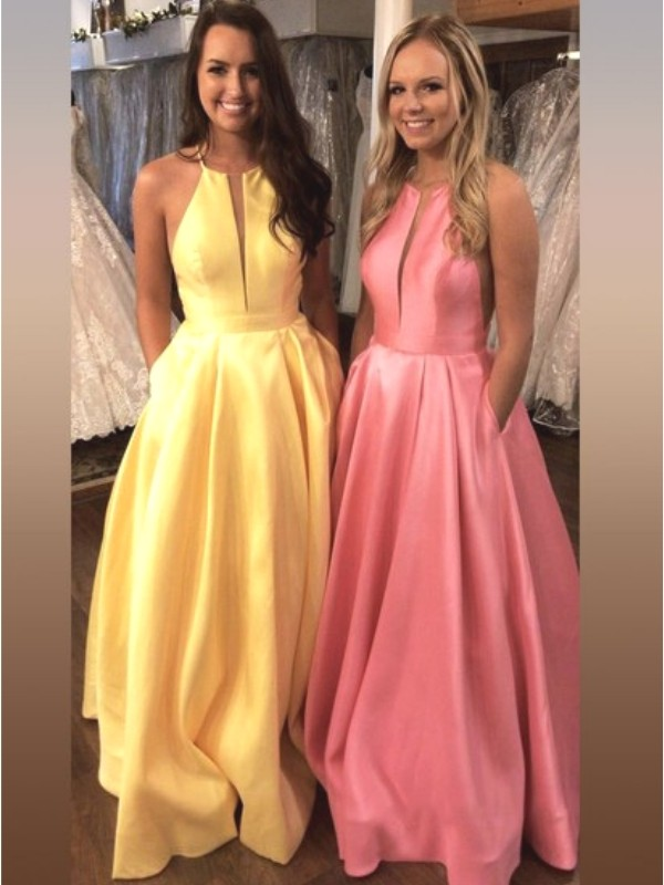 Daffodil Satin Halter A-Line/Princess Sweep/Brush Train Dresses