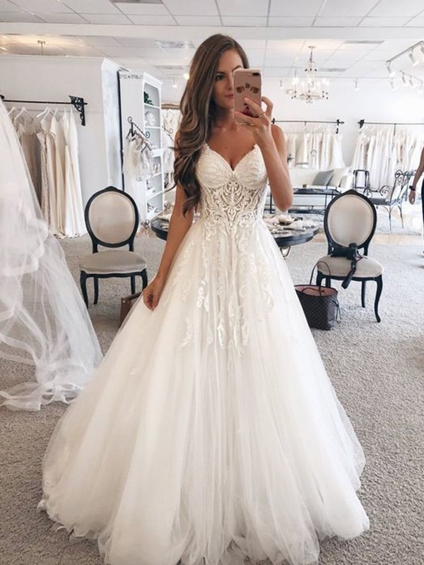 White Tulle Sweetheart A-Line/Princess Floor-Length Wedding Dresses