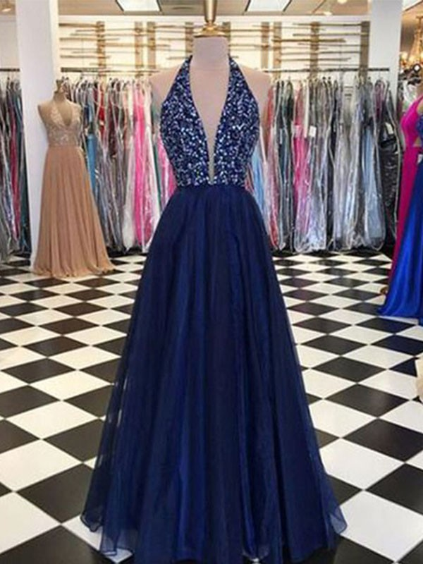 Dark Navy Tulle Halter A-Line/Princess Floor-Length Dresses