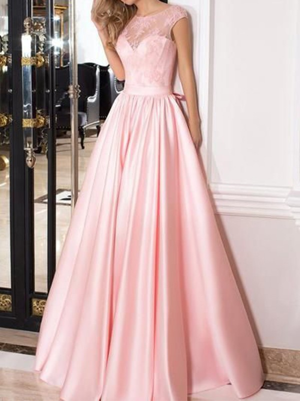 Pink Satin Sheer Neck A-Line/Princess Floor-Length Dresses