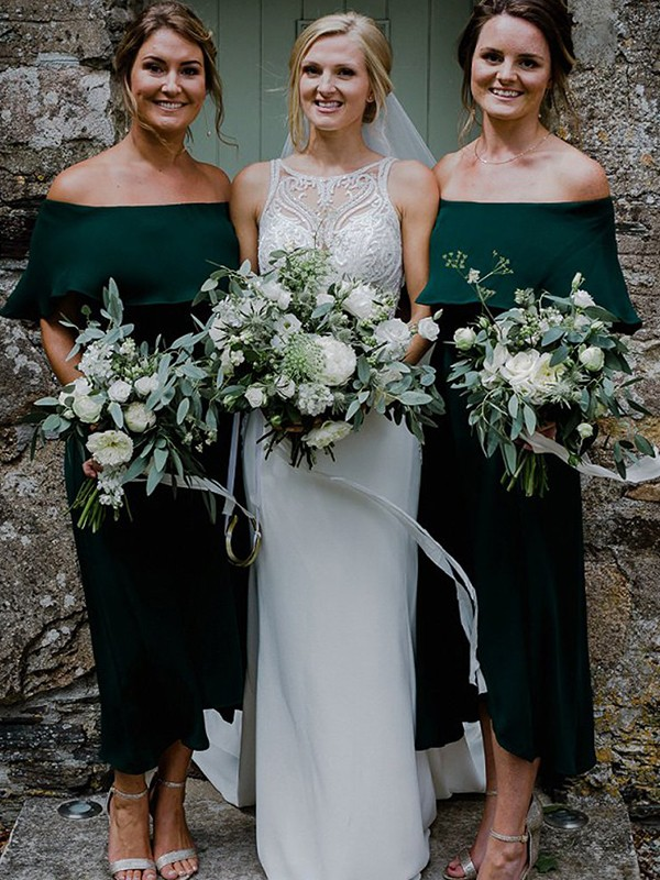 Dark Green Chiffon Off-the-Shoulder A-Line/Princess Ankle-Length Bridesmaid Dresses