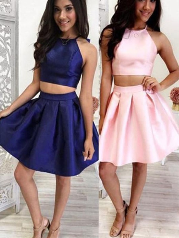 Dark Navy Satin Halter A-Line/Princess Short/Mini Dresses