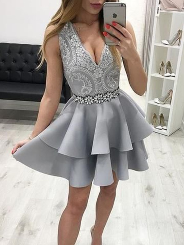 Grey Satin V-neck A-Line/Princess Short/Mini Dresses