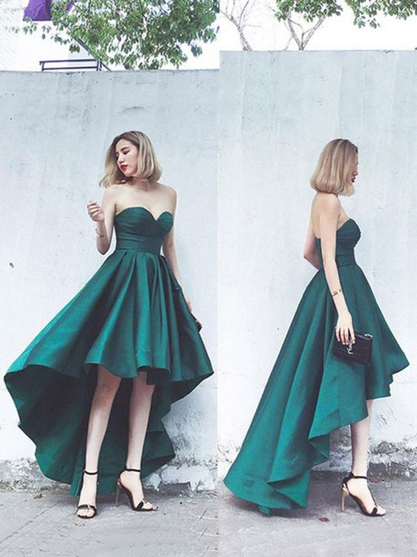 Green Satin Sweetheart A-Line/Princess Asymmetrical Dresses