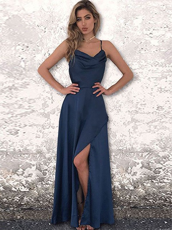 Dark Navy Satin Chiffon Spaghetti Straps A-Line/Princess Floor-Length Dresses
