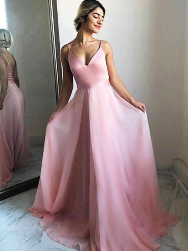 Pink Chiffon Spaghetti Straps A-Line/Princess Sweep/Brush Train Dresses