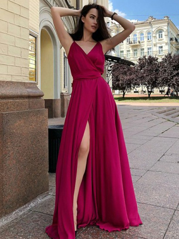 Burgundy Satin Chiffon Spaghetti Straps A-Line/Princess Sweep/Brush Train Dresses