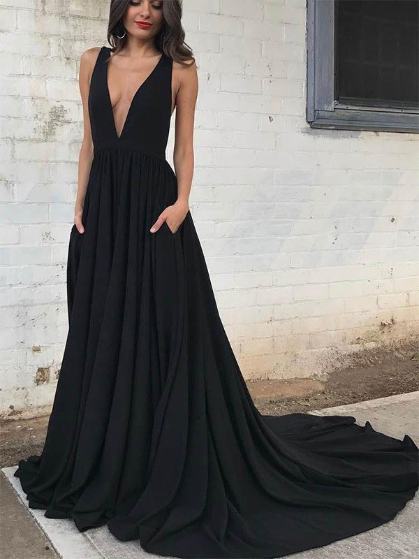 Black Jersey V-neck A-Line/Princess Court Train Dresses