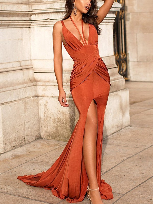 Orange Satin V-neck Trumpet/Mermaid Sweep/Brush Train Dresses