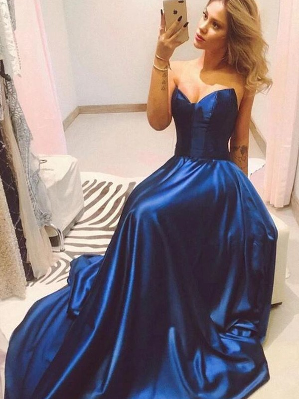 Royal Blue Satin Sweetheart A-Line/Princess Sweep/Brush Train Dresses