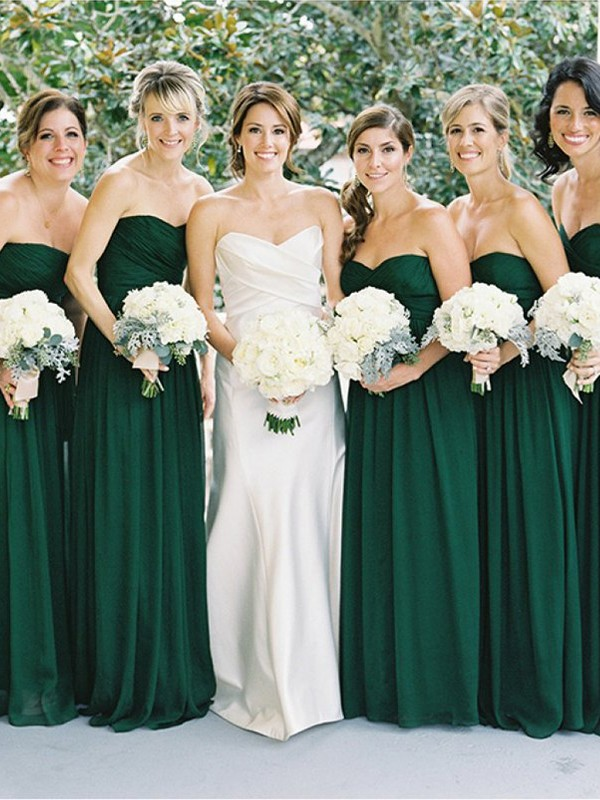 Dark Green Chiffon Sweetheart A-Line/Princess Floor-Length Bridesmaid Dresses