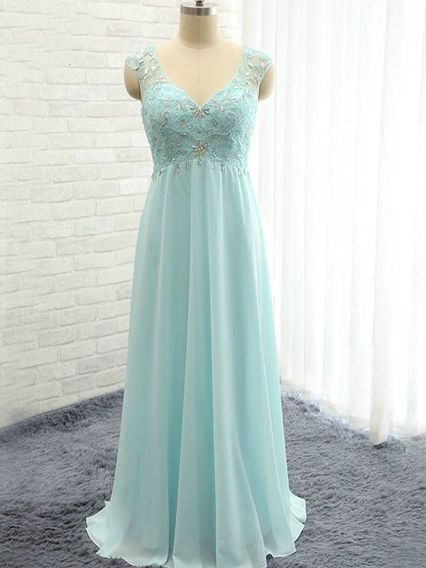 Light Sky Blue Chiffon Sweetheart A-Line/Princess Floor-Length Bridesmaid Dresses