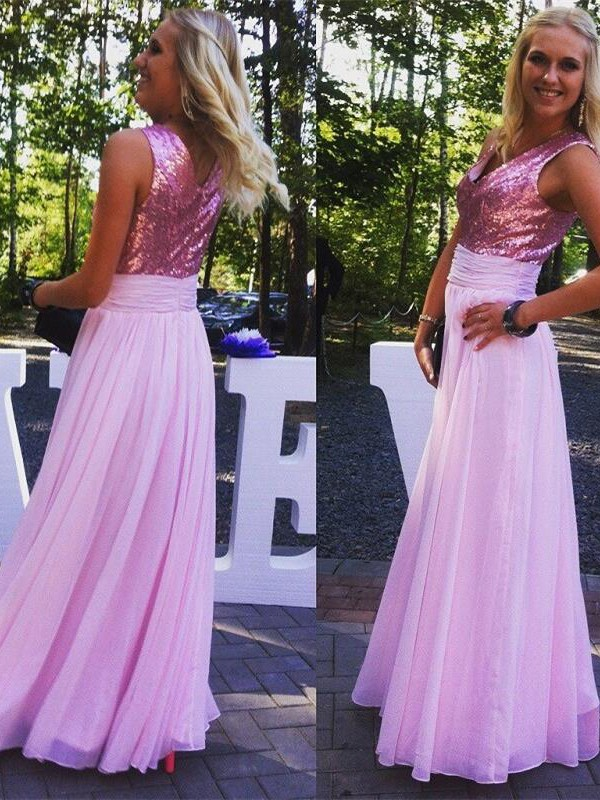 Lilac Chiffon V-neck A-Line/Princess Floor-Length Bridesmaid Dresses