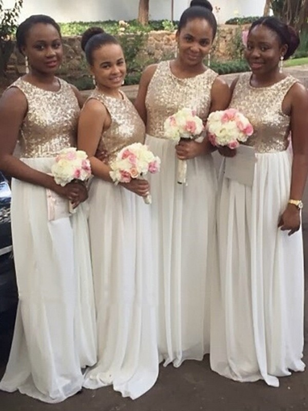 White Chiffon Scoop A-Line/Princess Floor-Length Bridesmaid Dresses