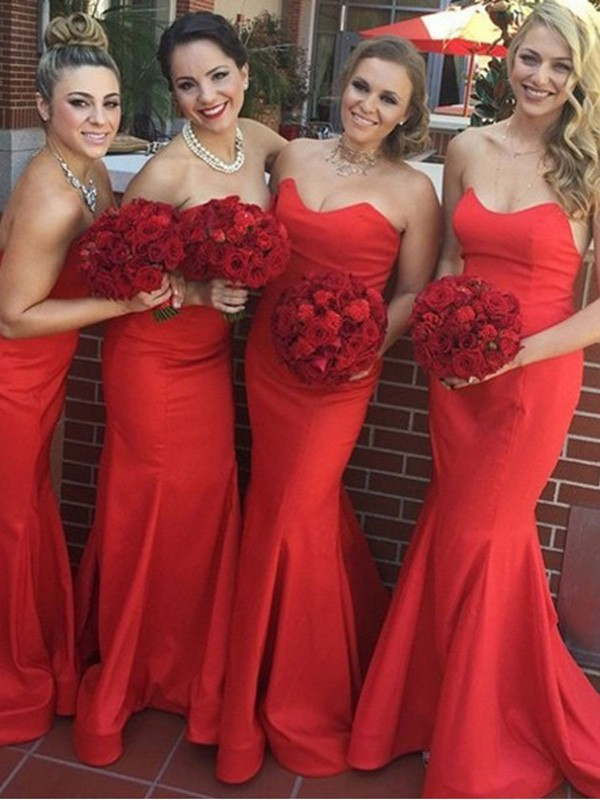 Red Satin Sweetheart Trumpet/Mermaid Sweep/Brush Train Bridesmaid Dresses