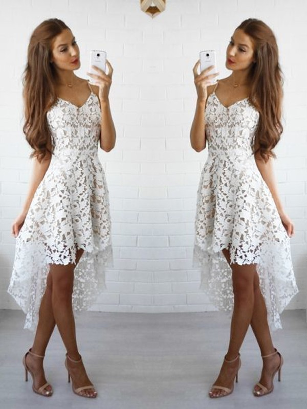 White Lace Spaghetti Straps A-line/Princess Short/Mini Dresses