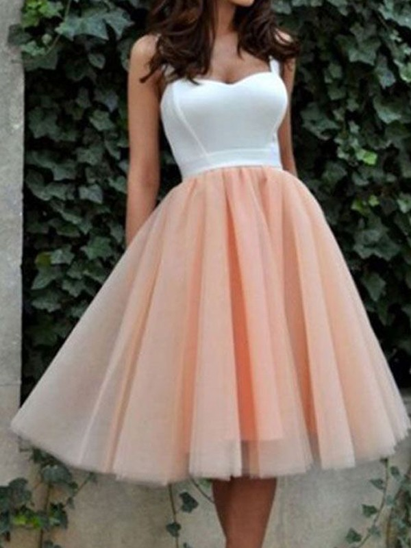 Pink Tulle Sweetheart A-line/Princess Knee-Length Dresses