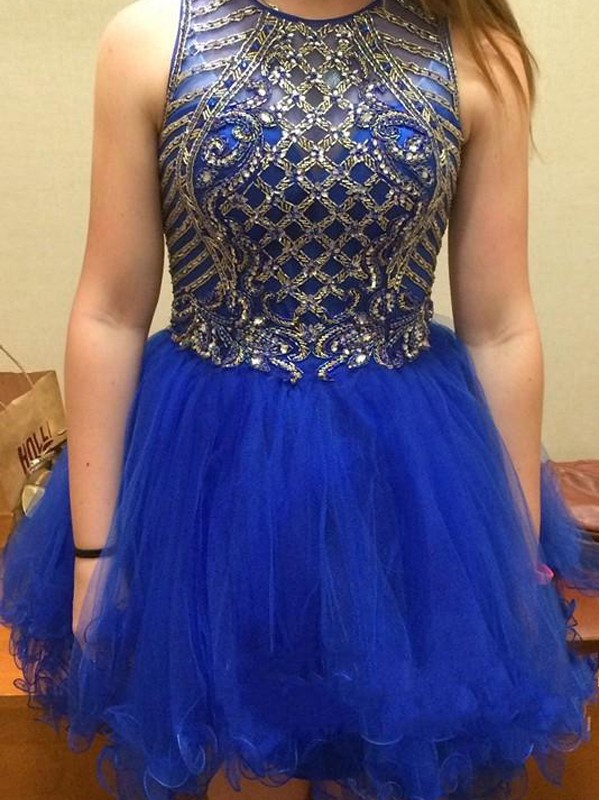 Royal Blue Tulle Scoop A-line/Princess Short/Mini Dresses