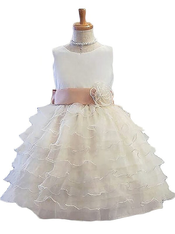 White Tulle Jewel A-Line/Princess Short/Mini Flower Girl Dresses
