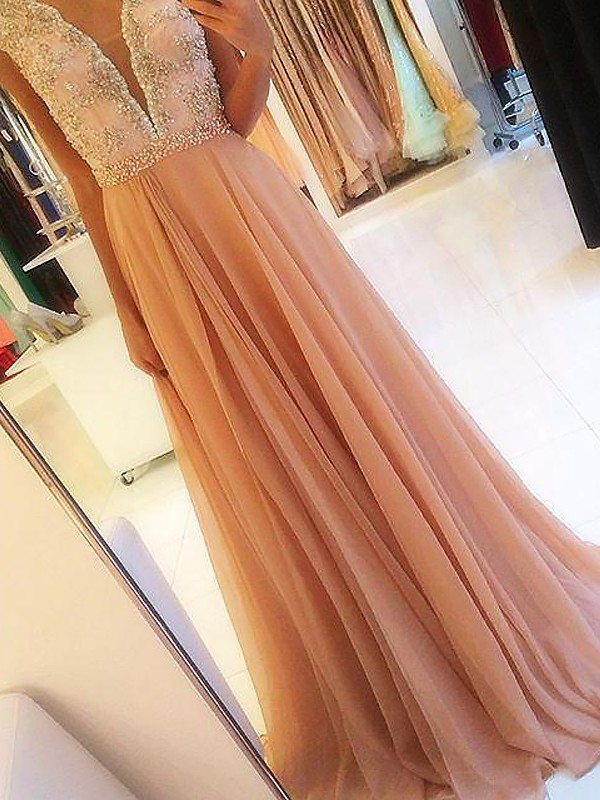 Pink Chiffon V-neck A-Line/Princess Sweep/Brush Train Dresses