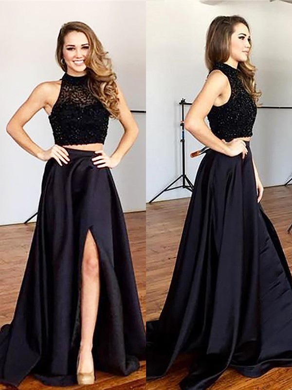 Black Satin Halter A-Line/Princess Sweep/Brush Train Dresses