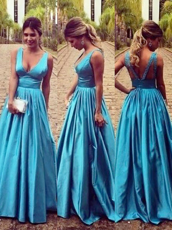 Blue Elastic Woven Satin V-neck A-Line/Princess Floor-Length Dresses