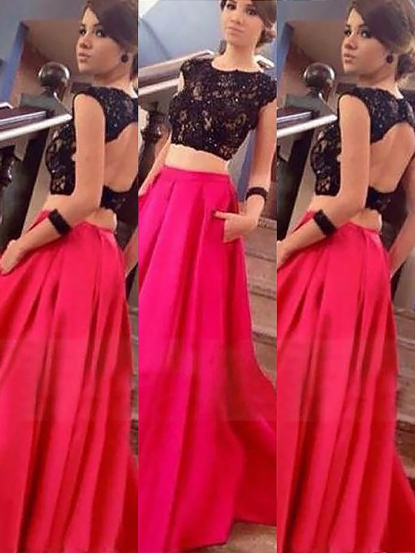 Fuchsia Satin Bateau A-Line/Princess Floor-Length Dresses