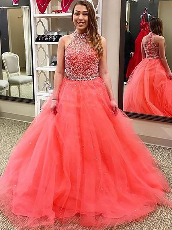 Watermelon Tulle Halter Ball Gown Floor-Length Dresses